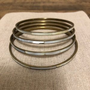 American Eagle gold and opal look bangles,set of 4